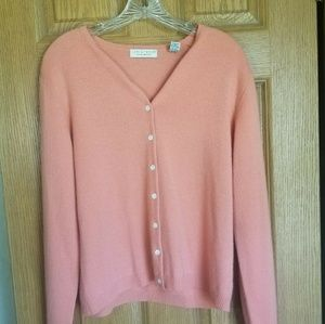 Lord & Taylor 100% Cashmere Pink button up sweater